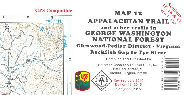 Map 12: AT in GWNF Pedlar District (Rockfish Gap to Tye R.)