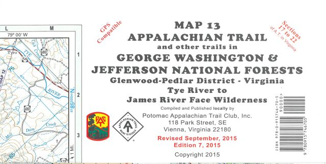 Map 13: AT GWNF Pedlar District (Tye River to James River)