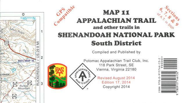 Map 11: AT in Shenandoah National Park (South District)