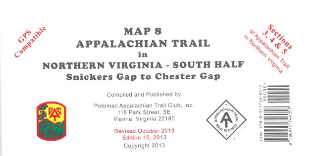 Map 8: AT in N. VA South Half (Snickers Gap to Chester Gap)