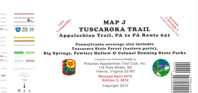Map J: Tuscarora Trail (PA AT to Rte. 641)